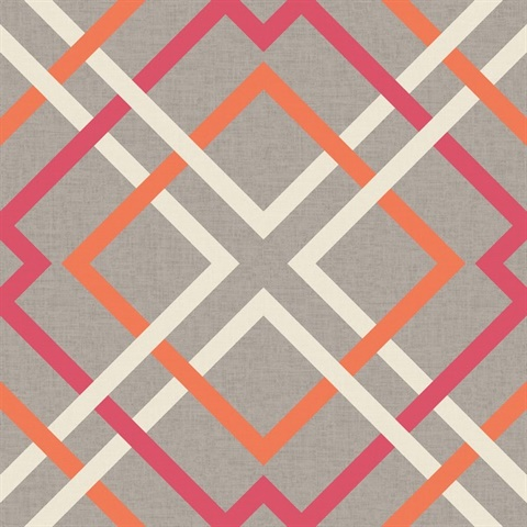 Saltire Pink Lattice Wallpaper