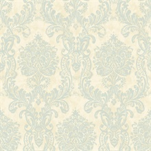 Samantha Blue Damask Wallpaper