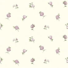 Sandra Purple Floral Toss Wallpaper