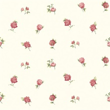 Sandra Red Floral Toss Wallpaper