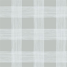 Scarborough Grey Striated Plaid Wallpaper