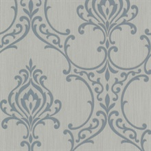 Scott Aqua Nouveau Damask Wallpaper