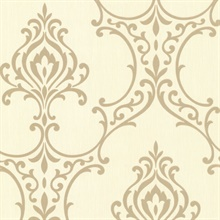 Scott Gold Nouveau Damask Wallpaper