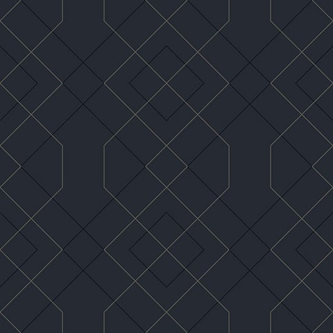 2964 25913 Scott Living Ballard Indigo Geometric Unpasted Wallpaper