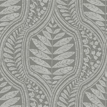 Scott Living Juno Dark Grey Ogee Non Woven Unpasted Wallpaper