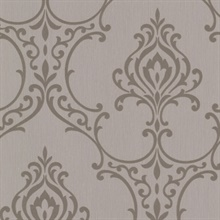 Scott Taupe Nouveau Damask Wallpaper