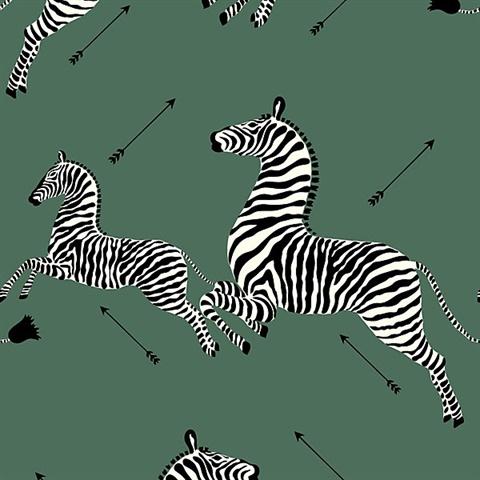Serengeti Green Zebra Wallpaper