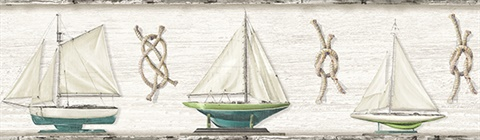 Set Sail Grey Boat Border