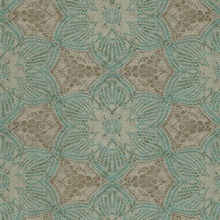 Seychelles Teal Medallion Wallpaper