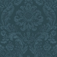 Shadow Blue Damask Wallpaper