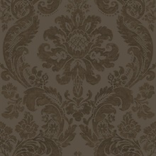 Shadow Brown Damask Wallpaper