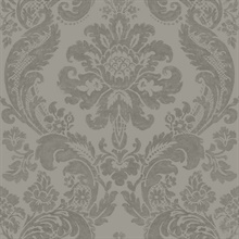Shadow Grey Damask Wallpaper