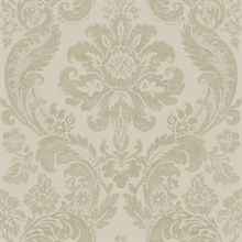 Shadow Khaki Damask Wallpaper