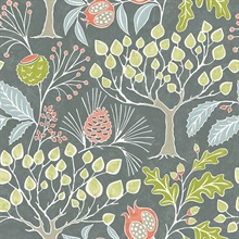 Shiloh Grey Retro Botanical Wallpaper