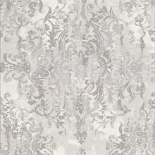 Shirley Grey Distressed Damask Wallpaper