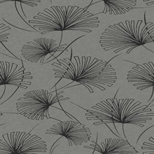 Silver Abstract Floral Dandelions Wallpaper