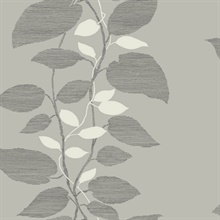Silver & White Etched Leaves Wallpaper