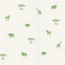 Simba Green Animal Silhouettes Wallpaper