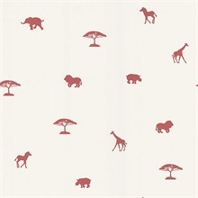 Simba Red Animal Silhouettes Wallpaper