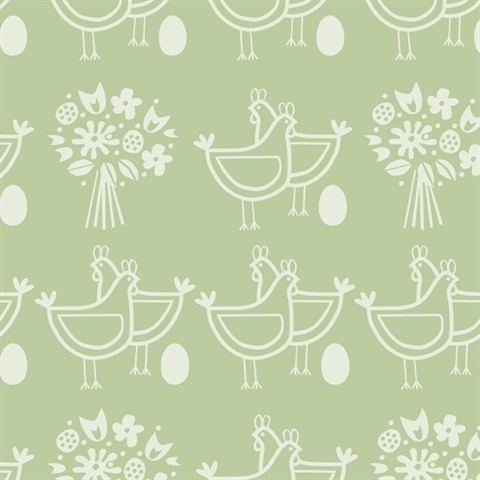 Six of One  - Pear Green colourway wallpaper