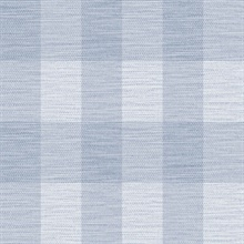 Sky Blue & Blue Rugby Gingham Check Plaid Wallpaper