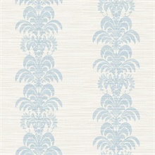 Sky Blue & Grey Palm Frond Stripe Stringcloth Textured Wallpaper