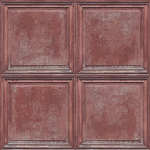 Sky Blue & Red Charleston Faux Wood Panels Wallpaper