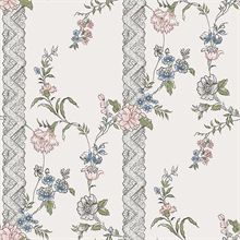 Slottsteatern Multicolor Floral Stripe Wallpaper