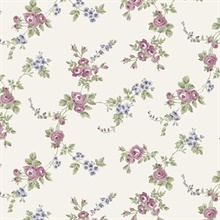 Small Rose Vines Pink, Navy & Green Wallpaper
