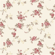 Small Rose Vines Red, Taupe & Cream Wallpaper