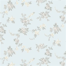 Small Rose Vines Turquoise & Grey Wallpaper