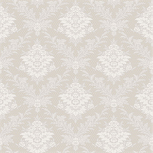 Sofia Light Grey Damask Wallpaper