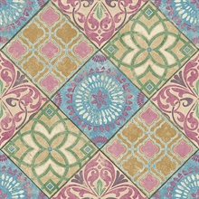 Soft Blue, Pink, Mustard & Green Commercial Tile Wallpaper