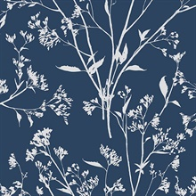 Southport Navy Blue Coastal Branches Wallpaper