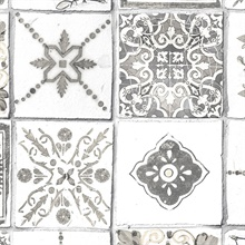 Spanish Tile White & Grey Wallpaper