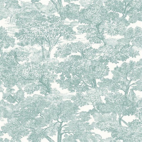 Spinney Teal Toile