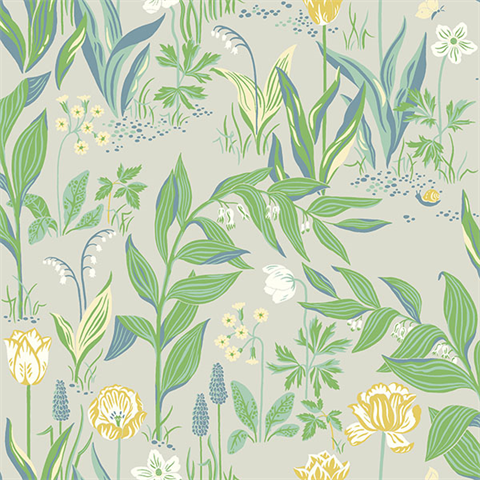 Spring Garden Green Botanical Wallpaper