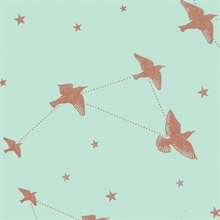 Star-ling - Pale Verdigris & Copper colourway wallpaper