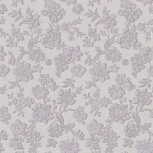 Stria Violet Floral Toss Wallpaper