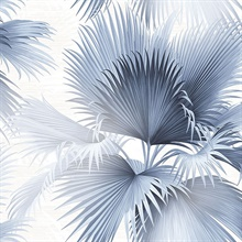 Summer Palm Blue Tropical Leaf Wallpaper