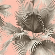 Summer Palm Blush Pink Tropical Leaf Wallpaper