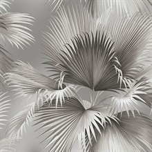 Summer Palm Platinum Tropical Leaf Wallpaper