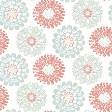 Sunkissed Coral Floral Medallion Wallpaper