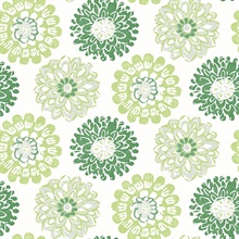 Sunkissed Green Floral Medallion Wallpaper