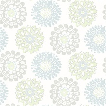 Sunkissed Light Green Floral Medallion Wallpaper