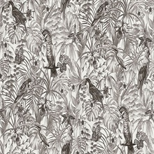 Susila Grey Textured Tropical Leaves with Birds Wallpaper