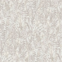 Susila Light Pink Textured Tropical Leaves with Birds Wallpaper