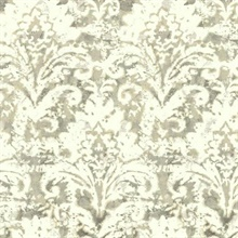 Tan Batik Damask Wallpaper