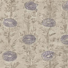 Tan & Beige French Marigold Wallpaper