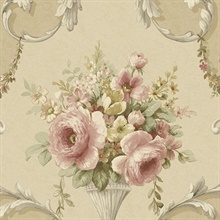 Tan Floral Acanthus Scroll